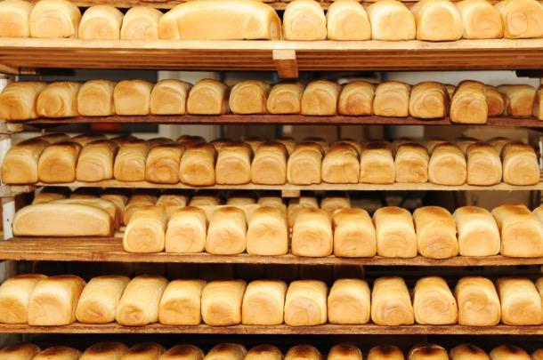 Bread in a bakery factory